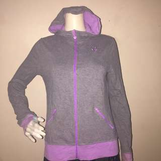 JUSTICE gray sweatshirt with hood and zipper small