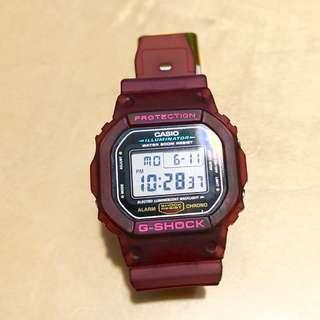 Casio G-shock Dw5600 酒紫紅色 錶帶 錶殻 (不包錶肉)