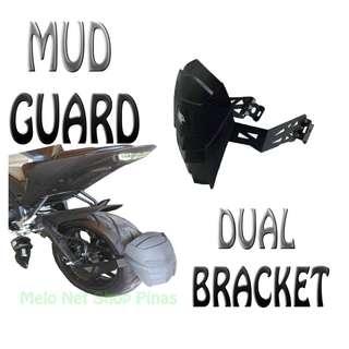 Motorcycle Mudguard Dual Bracket Universal Carbon Black