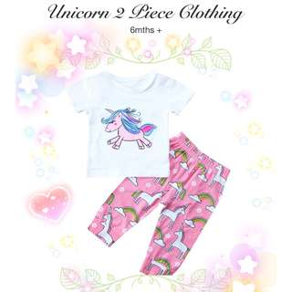 👶🏻 6M+ UNICORN 2PC TOP+BOTTOM SET BABY GIRL KIDS CLOTHING