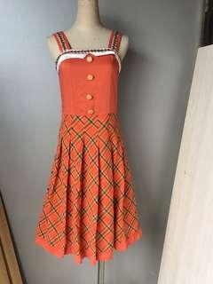 🚚 巧玲瓏 棉麻橘背心洋裝