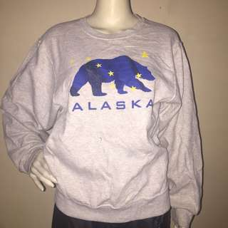 FRUIT OF THE LOOM gray sweatshirt blue bear design small