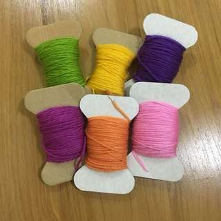 Different Colors of Yarn Bundle - Green, Yellow, Violet, Magenta, Orange, Pink