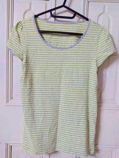 🚚 Net 淺灰色黃色橫條紋休閒柔軟短袖上衣T恤