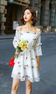 White Off shoulder Floral Dress
