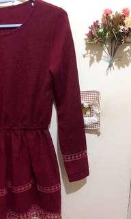 新增實穿照❤️闆娘私物-超美酒紅色下擺鏤空格子裙 (菱形格、縮腰設計)