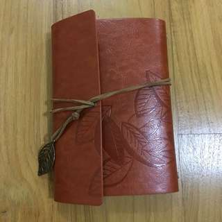 Orange Leather Bound Journal Notebook