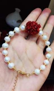 【天然珍珠紅珊瑚手鍊】天然珍珠紅珊瑚時尚手鍊