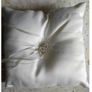 White satin ring pillow with white & gold-seam roses (pre-loved, in good condition)