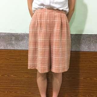 古著粉紅棉麻短褲