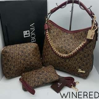 Bonia 3 in 1 Set Handbags Red Wine Color