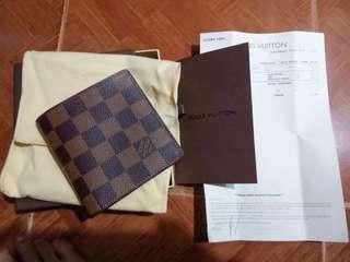 BRANDNEW Louis Vuitton Damier Ebene Porte-Billets 6-Card Men's Bifold Wallet