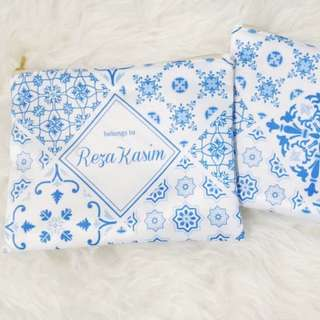 CUSTOM SATIN POUCH blue porcelain