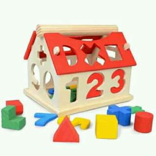 Wooden alphabet house