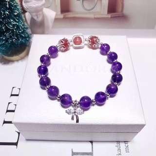 天然8mm紫水晶手鏈 925銀花托包草莓晶 s925銀蝴蝶結吊墜