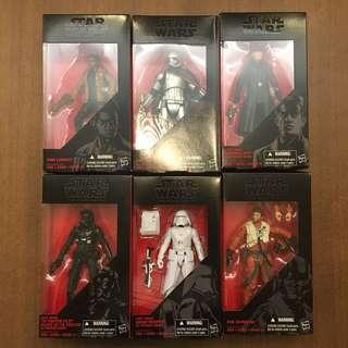 Star Wars Hasbro 孩之寶 The black series 六盒 (General Hux, snowtrooper, Tie Fighter Pilot, Poe, Phasma, Finn)