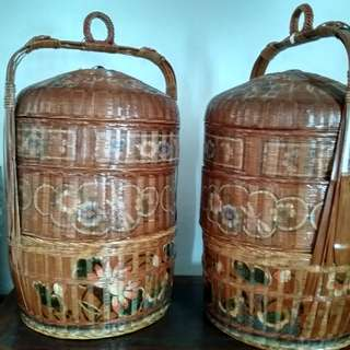 70+ yr old Chinese Teochew Baskets (pair)