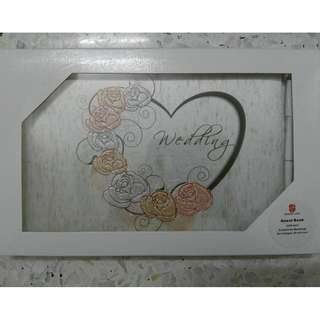 Wedding guest book - pink & peach color roses