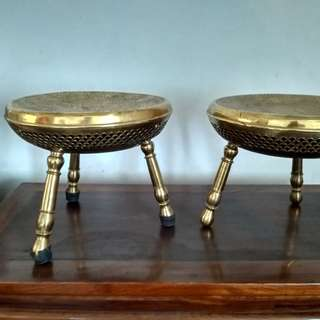 Very Old Iranian Brass Stools (Pair)
