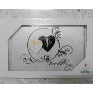Wedding guest book - bride & groom hearts