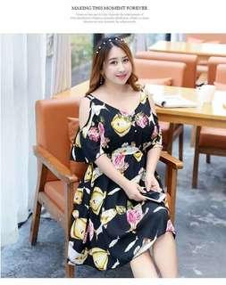 🐊Cold shoulder Floral Plus size dress