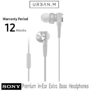 Sony MDR-XB55AP Premium in-Ear Extra Bass Headphones with Mic (White)