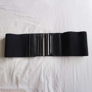 Black garterized wide belt