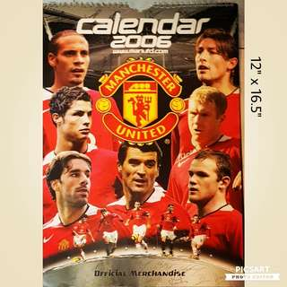 Collectable Man-U Calendar (Large, 12 pages) each highlighting one soccer star + Huge Poster with different Football Mega Stars (back & front). Refer to photos for size and details. $40 for both Calendar + Poster. Very Good Condition. Sms 96337309.