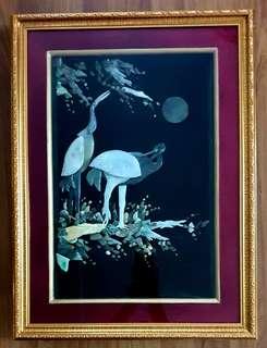 Natural Jade Crane Bird Art Wall deco