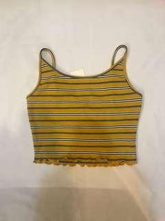 🚚 全新含吊牌黃色針織細肩帶短版背心