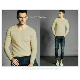 Sweater rajut/knit pria katun basic polos leher V