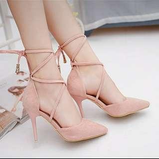 🚚 綁帶跟鞋 粉色37