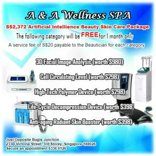 A & A Wellness SPA is celebrating 6 years anniversary presenting our 5 popular category Artificial Intellience Beauty Skin Care for FREE ‼️
