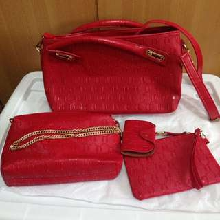 4pc Red Bag