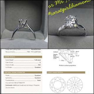 GIA 1.40 G VS 18K white gold