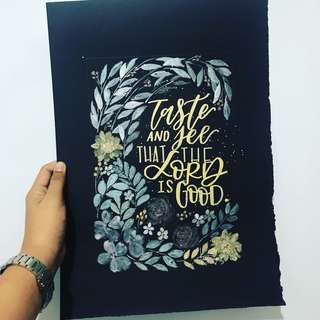 Calligraphy (A3) in Black Paper