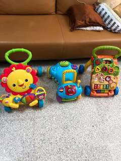Various baby walkers to let go