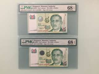 Fixed Price - Singapore Portrait Series $5 Paper Banknote 1AA First Prefix Lee Hsien Loong Signature 2 Runs PMG 68 EPQ