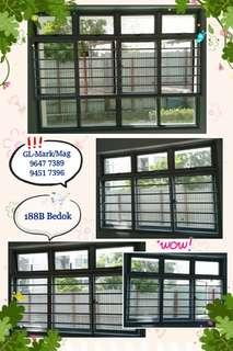 Aluminium grilles, window, gate, shower sceeen, door for BTO & HDB. Whatsapp 96477389