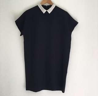 Zara collared dress navy