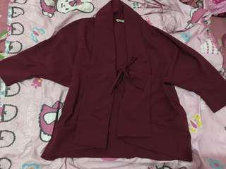 Atasan maroon model cardigan