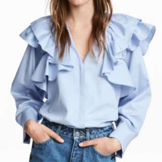 H&M ruffle blouse light blue