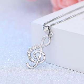 music symbol zircon Silver Necklace Jewelry