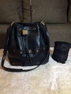 Authentic MCM Drawstring Leather Bag With Dustbag