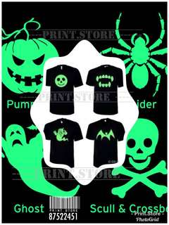 🚚 Customise glow in the dark holloween T shirt