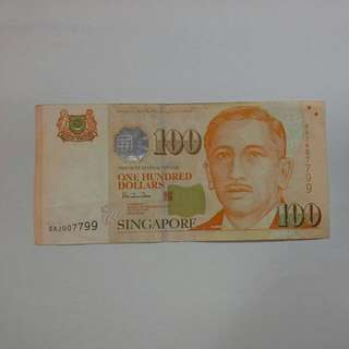 Singapore $100 Fancy Number Note