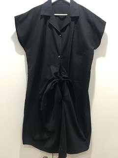 Tie front Black cotton dress