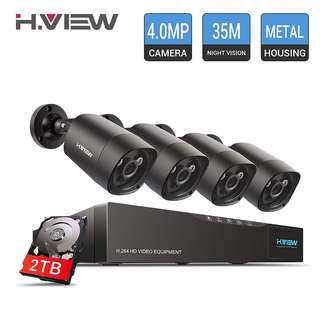 896. H.View 4.0MP Surveillance Camera System Including 5.0MP 4 Channel DVR and 4x1440P Security Cameras Indoor/Outdoor Home Security Camera System with 2TB Hard Drive Installed (35M Night Vision)