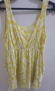 H&M Yellow and White Dress