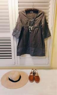 🚚 日本🇯🇵專櫃 SM2 森林系 文青風 棉料七分袖 短袖 洋裝